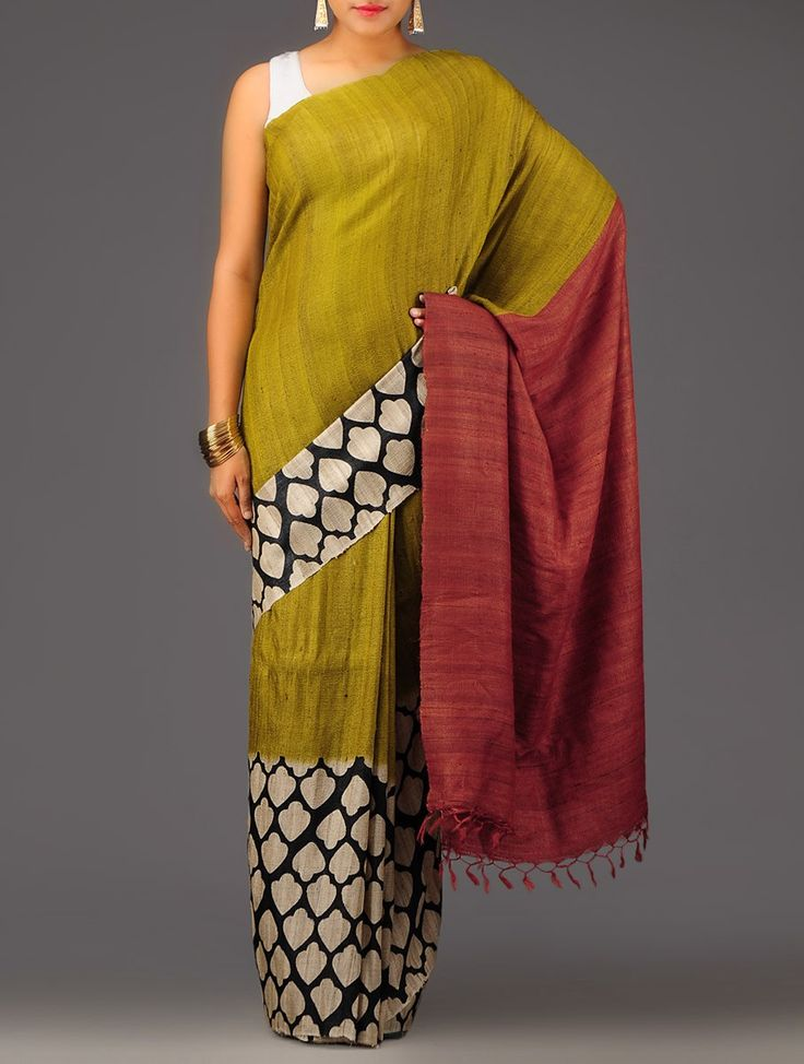 Buy Olive Ecru Organic Silk Handwoven Saree Sarees Woven Color Carnival Vibrant and Colorful Hand Block Printed in Online at Jaypore.com