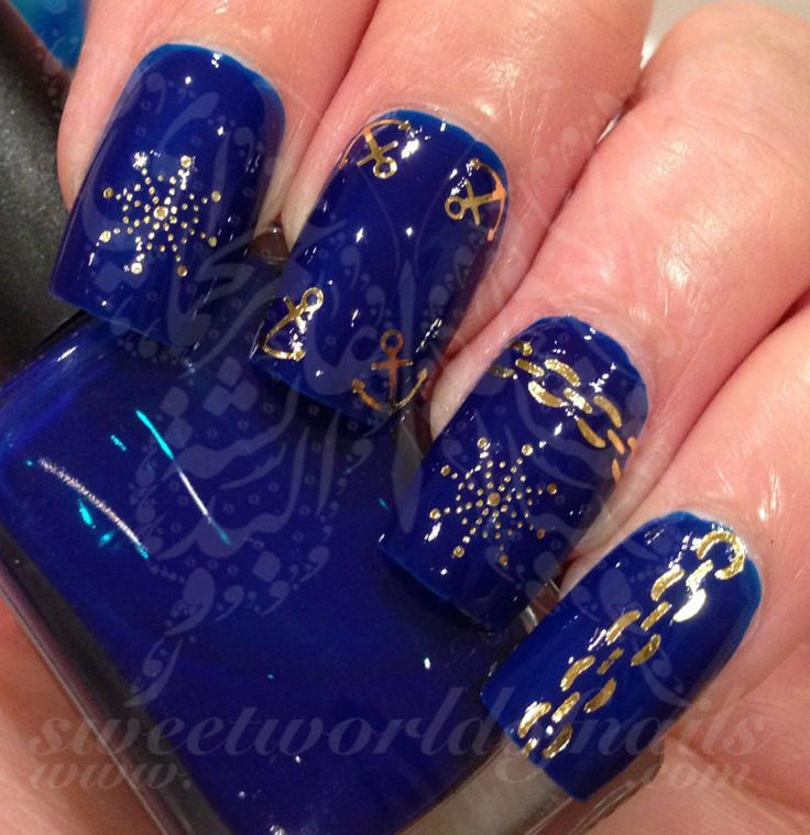Gold Nail Art Anchor Compass Nail Water Decals Transfers Wraps