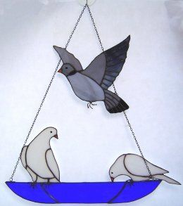Hanging Bowl with 3 Birds