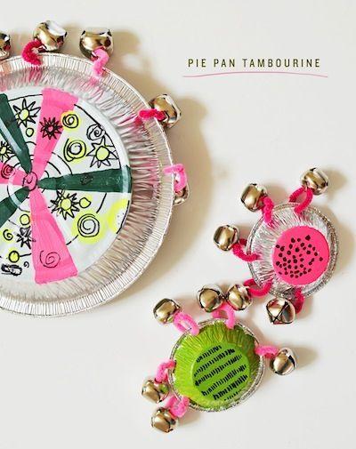 Cakies pie pan tambourine homemade musical instrument