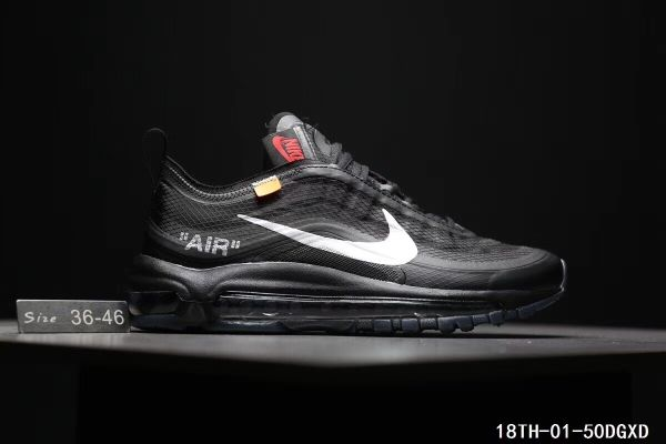 4c1426f662 Cheap Off White X Nike Air Max 97 The Ten OW Unisex shoes Black White  WhatsApp:861332837359