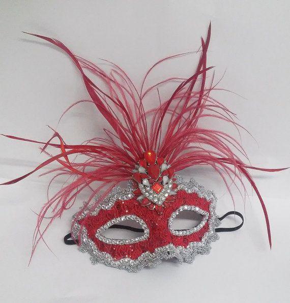 Red Masquerade Mask,Red Feather Rhinestones Mask,Masquerade Mask