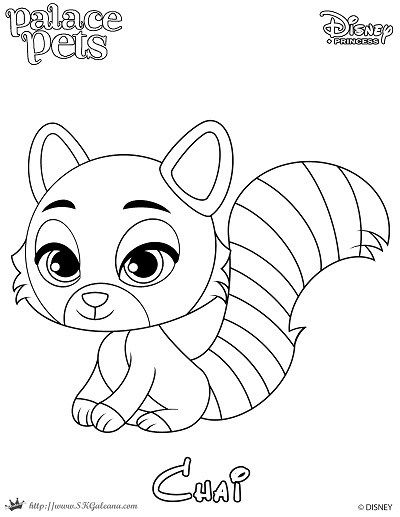 Free Coloring Page featuring Chai from Disney's Princess Palace Pets