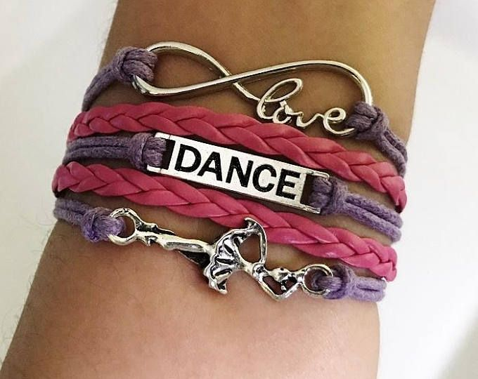 Dance Bracelet Dancer Gift For Teacher Coach Jewelry Music Dancing Purple Hot Pink