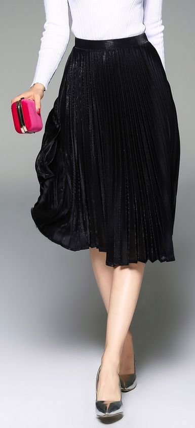 black pleated a-line skirt with just a touch of shimmer - holiday parties here i come! (and pretty enough to wear year round!)
