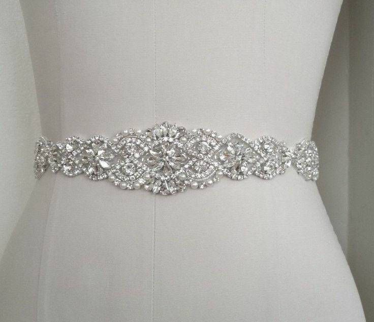 Bridal sash /wedding gown sash /wedding dress sash/ rhinestone bling ...