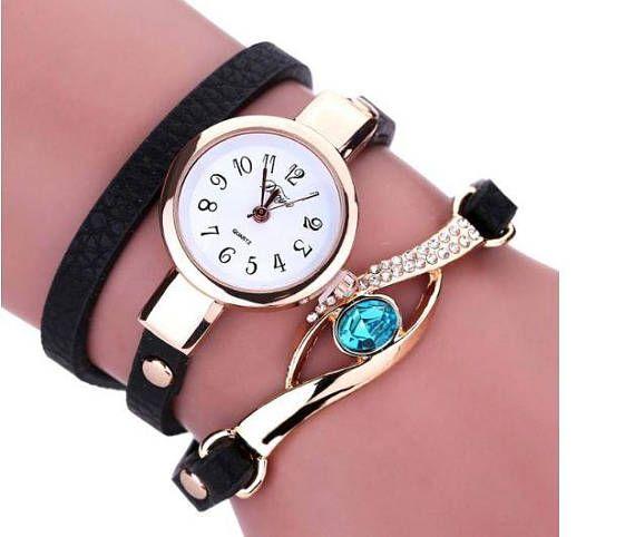 Black bracelet wrap watch women bracelet watch Leatheroid