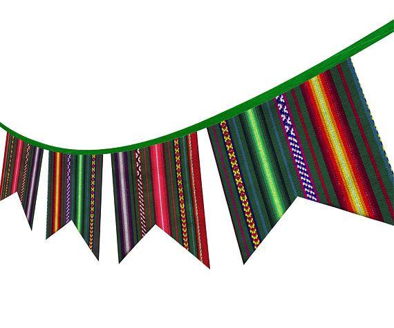 Guirnalda PERUANA Tribal de Tela. Decoracion etnica de pared. Banner de Fiesta, Puntas de Flechas colgantes para Fiesta de Cumpleaños