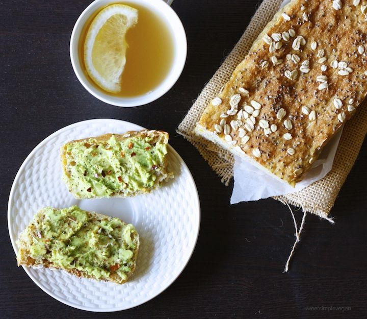 Don't let your leftover lentils or beans go to waste! Make a delicious savory sandwich bread with them, and top it with avocado for the perfect meal.