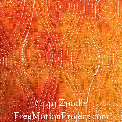 Here's a beautiful new free motion quilting design called Zoodle. Click the link to find a free video tutorial to watch and learn how to quilt this funky design - http://freemotionquilting.blogspot.com/2015/08/free-motion-quilt-zoodle-449.html