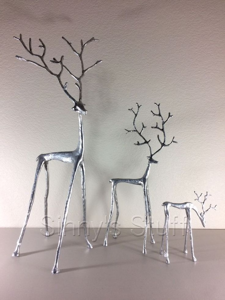 Set Of 3 New Pottery Barn Sculpted Silver Reindeer Antique