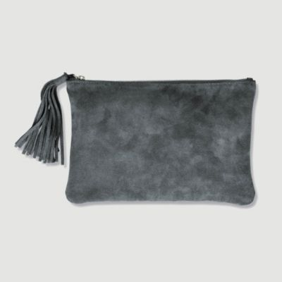 Large Suede Tassel Clutch - Charcoal from The White Company #whitechristmaswishlist