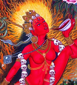 Vajrayogini, the Queen of Dakinis, shown to drink blood which represents the ability to transmute and transform negative actions into positive: anger into clarity, ignorance into wisdom. She wears skulls because she dances with death and transformation as naturally as the crone, the goddess embracing the power of the sacred feminine.