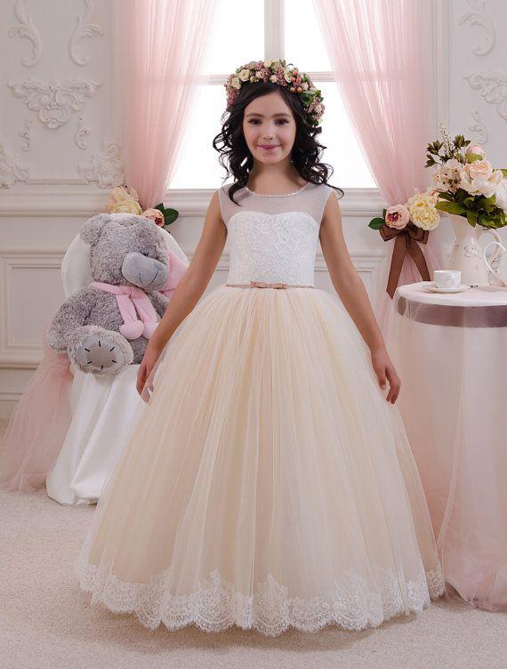 Marfil y Beige niña vestido de flores - cumpleaños boda fiesta vacaciones de Dama de honor niña de las flores Beige y marfil tul vestido de encaje