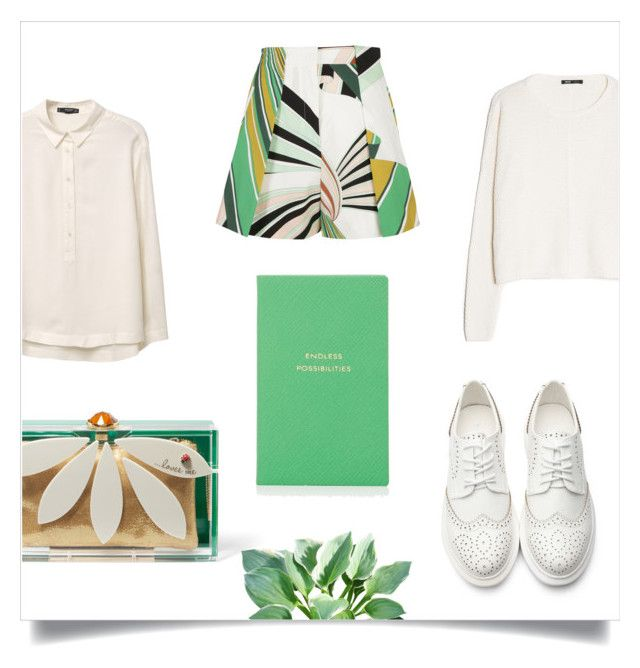 """""""Greener On The Other Side"""" by lamemechose ❤ liked on Polyvore featuring MANGO, Emilio Pucci, Charlotte Olympia and Smythson"""