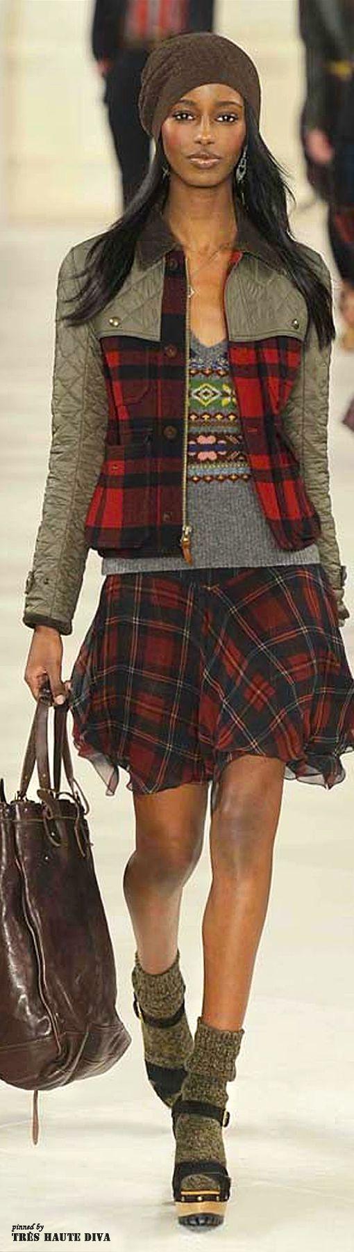 Tartan & grey: Beanie, sweater, warm jacket, light skirt. <3