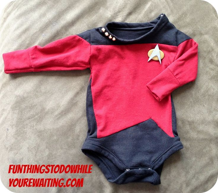 How to make a Star Trek: The Next Generation onesie with combadge and pips! Make it Sew: Number One-sie!