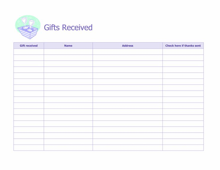 Record of gifts received microsoft office template for Wedding shower gift list template