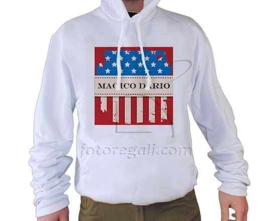 felpa bianca con bandiera americana