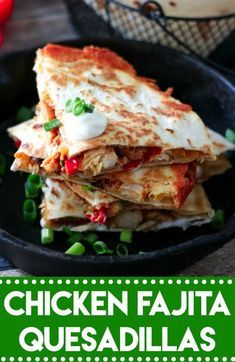 Chicken Fajita Quesadillas are a cheesy spin on a classic. Full of fajita veggies, tender chicken and lots of cheese these are perfect any night! #recipe #yummy #foodgasm #eating #dinner #easyrecipe #food #dinnerrecipes #chicken #quesadilla #cheese #tacotuesday