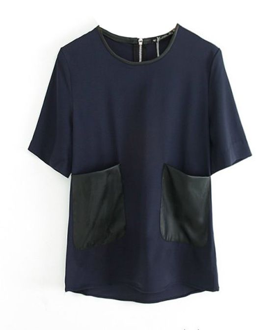 Contrast Color Round Neck Blouse With Big Pockets