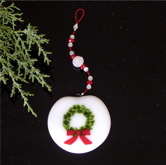 Fused Glass Christmas Wreath Ornament on White Glass with Red and White Beaded Strand created by GreenhouseGlassworks $22