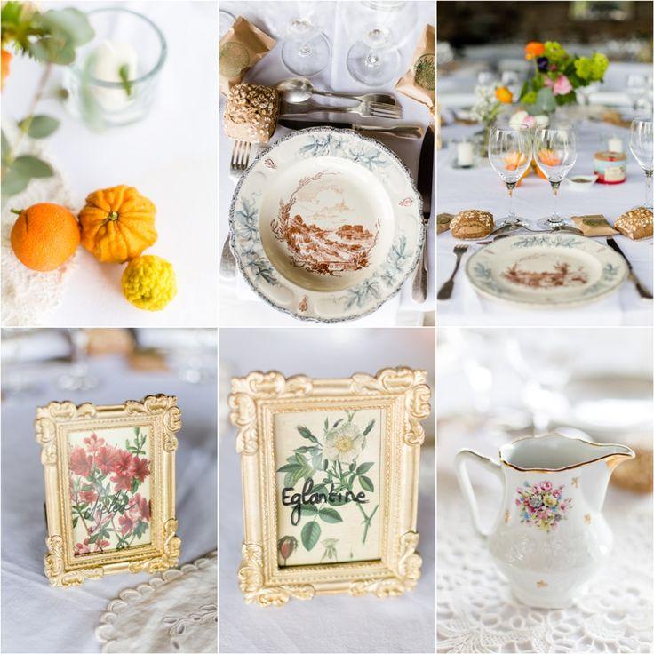 Les détails de la décoration des tables, mariage aux domaines de Patras, DIY, agrumes, Brocante, drôme