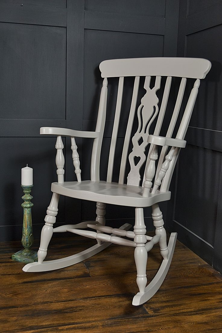 We've given this rocking chair a Farrow & Ball makeover, hand painted in the beautiful Purbeck Stone. No aging for this chair, just a comfortable chic look!