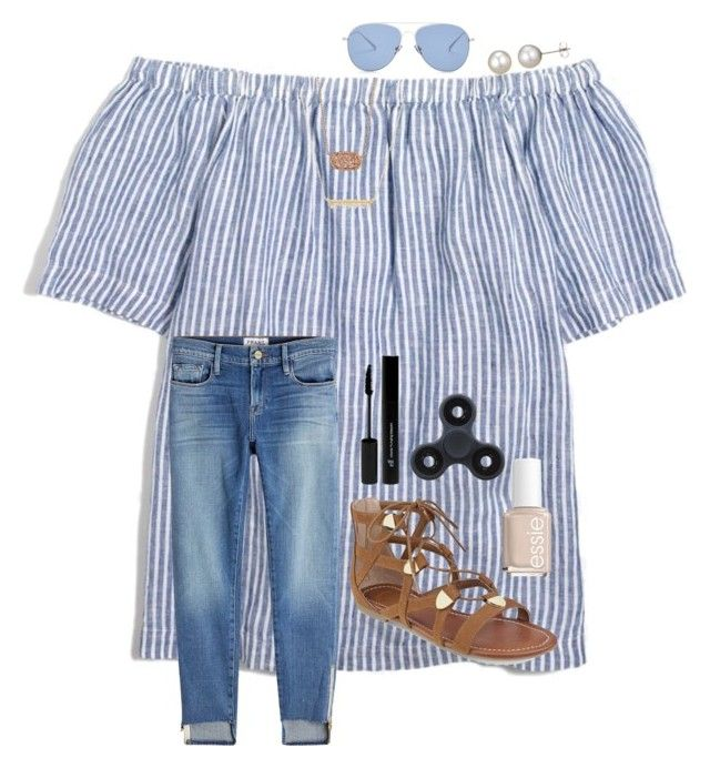 """""""I'm legit obsessed with Fidgets """" by preppy-renee ❤ liked on Polyvore featuring J.Crew, Frame, Kendra Scott, Leah Alexandra, G by Guess, A B Davis, Kaleos, Essie and e.l.f."""
