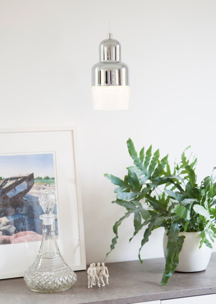 Chrome metal pendant with a glass shade Colon  #sessak #lighting #sisustus #valaisin #new #newin #pöytävalaisin #interior #inredning #interior #Vintage