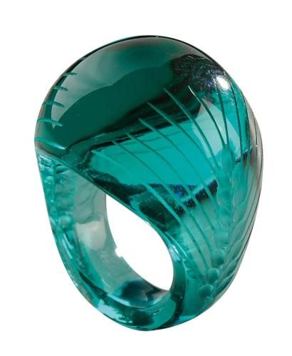 Lalique 1931 «Epis» Ring: molded/ pressed/ engraved emerald green glass. Wheel carved signature 'Lalique'