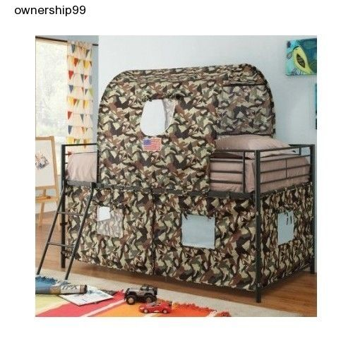 Boys Twin Loft Bed Camouflage Army Fort Tent Bunk Beds Kids Bedroom Furniture  #WildonHome