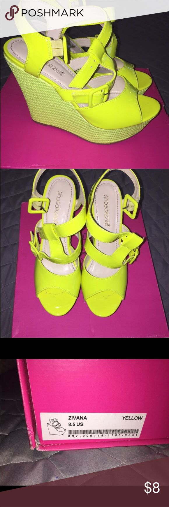 Shoe dazzle wedges Neon yellow shoe dazzle wedges, bright, fun, in original box and in great condition. Shoe Dazzle Shoes Wedges