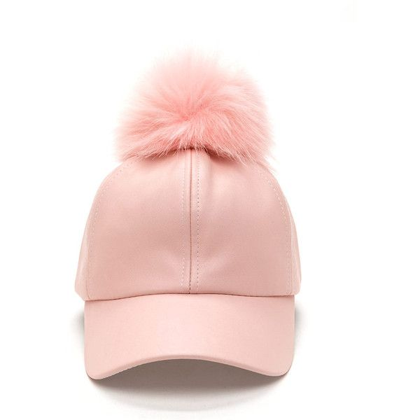 PINK Fur-Ever Faux Leather Pom-Pom Cap ($17) ❤ liked on Polyvore featuring accessories, hats, pink, pink cap, brimmed hat, 5-panel hat, fur pom-pom hats and adjustable hats