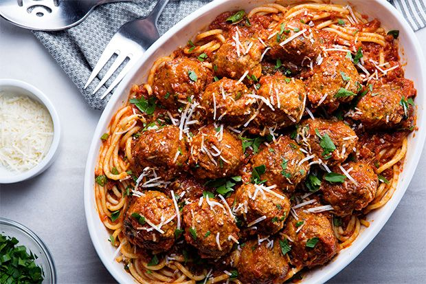 Find the recipe for Our Favorite Spaghetti and Meatballs and other veal recipes at Epicurious.com