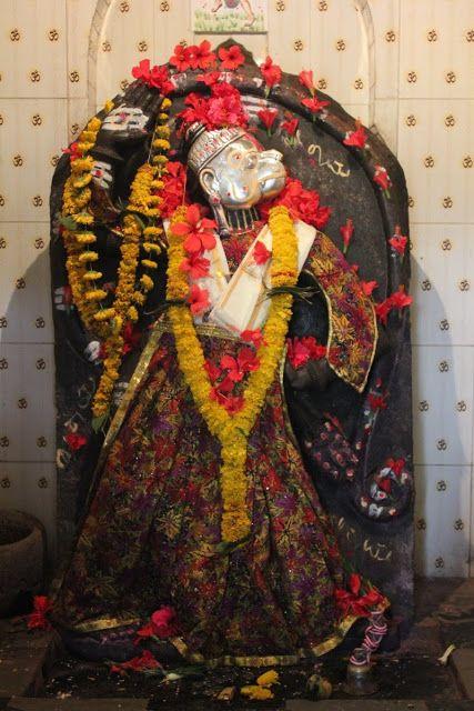 Lord Hanuman statue from an ancient Hanuman temple inside Munvalli fort, Karnataka.