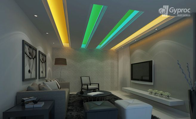 Living Room Ceiling Designs | False Ceiling Design Gallery – Saint-Gobain Gyproc India