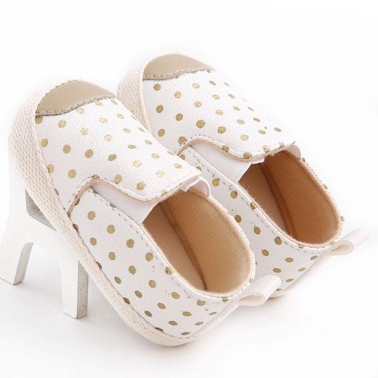 Cuero de LA PU Lunares Cuna Bebe Unisex Infant Toddler Kids Niños Prewalker Zapatos Recién Nacidos Primeros Caminante Otoño 0-1 años