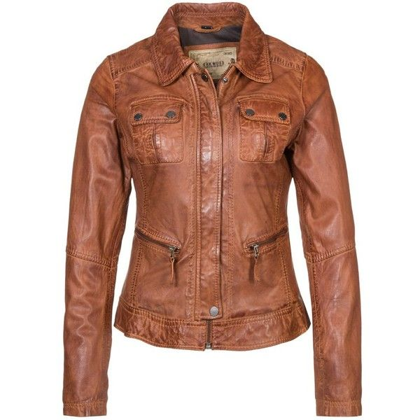 Oakwood Leather jacket ($240) ❤ liked on Polyvore featuring outerwear, jackets, cognac, leather, 100 leather jacket, zip pocket jacket, zipper leather jacket, leather zip jacket and cognac leather jacket