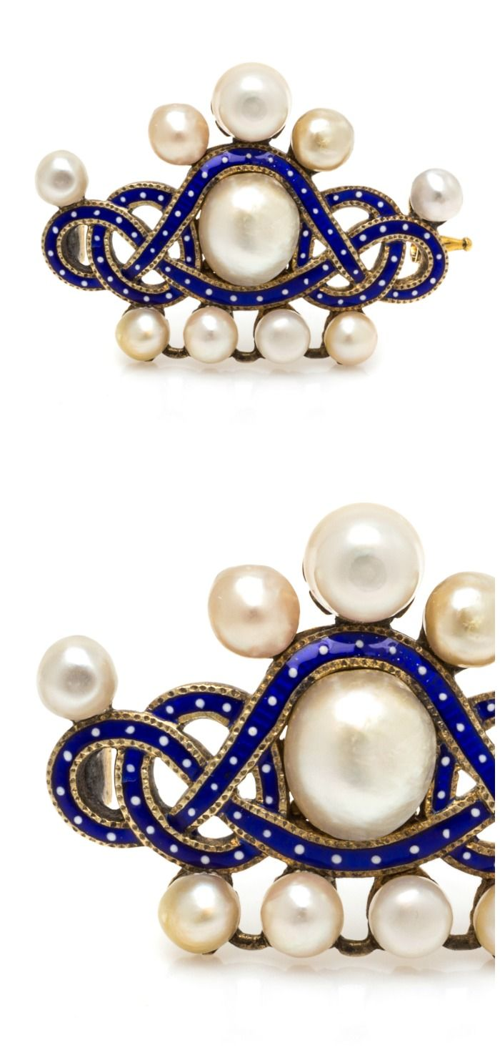 A Georgian gilt, silver, pearl, and enamel pendant brooch. From Leslie Hindman's April jewelry auction.