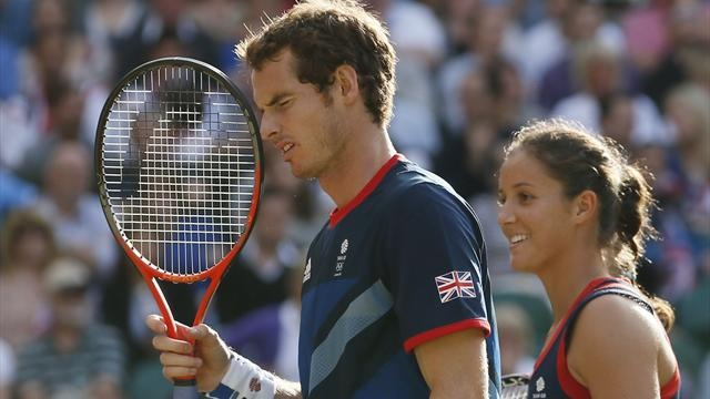 Britain's Andy Murray and Laura Robson pause during the mixed doubles tennis gold medal match against Belarus' Max Mirnyi and Victoria Azarenka at the All England Lawn Tennis Club during the London 2012 Olympic Games August 5, 2012 (Reuters)