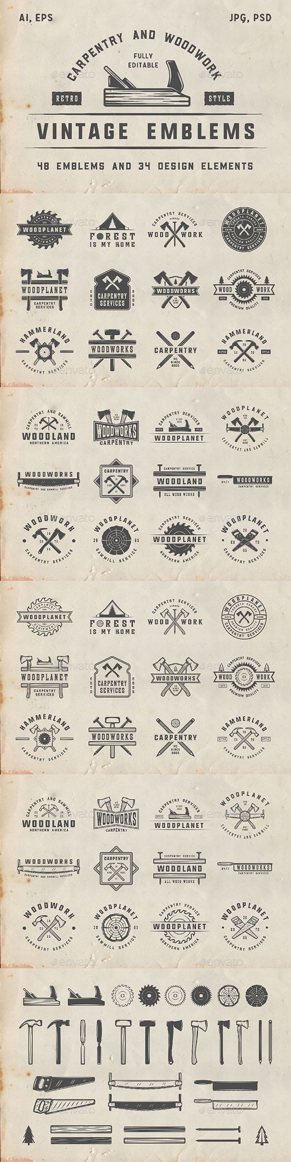 48 Vintage Carpentry Emblems Set of vintage carpentry and woodworks emblemsm, badges, logos and design elements You can use it for logo design, badge design, emblems, sport, shop sign, t-shirt prints and much more.  You get:  48 emblems 34 design elements Product features: All files are in AI, EPS, PSD, PNG and JPG formats. 100% Vectors / Fully scalable / Fully editable; Text 100% editable and can be easely removed. Fonts and mock-ups are not included. List of used fonts: Montana Barley…