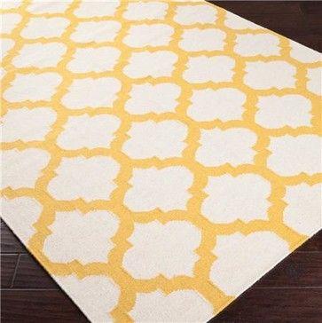 Ironwork Trellis Dhurrie Rug, Ivory and Sunflower Yellow mediterranean rugs
