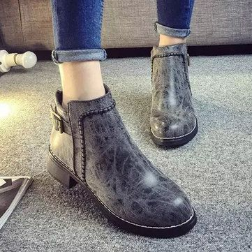 Fashion Leather Low Heel Slip On Ankle Boots