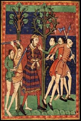 Life of St Edmund, c. 1130 Illumination on parchment, 204 x 134 mm Pierpont Morgan Library, New York In most art of the Romanesque period saints were represented either in static arrangements around Christ or the Virgin Mary or in narrative illustrations of their lives. A good example of the latter is the illustrated life of St Edmund, made at the abbey of Bury St Edmunds in East Anglia. St Edmund, the King of East Anglia, was murdered by the Danes in 869 and within forty years of his…