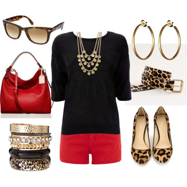 Red, Black, & Leopard; a classic mixup for fall. Maybe a red skirt if your not comfortable w/ the shorts. So stylish!!