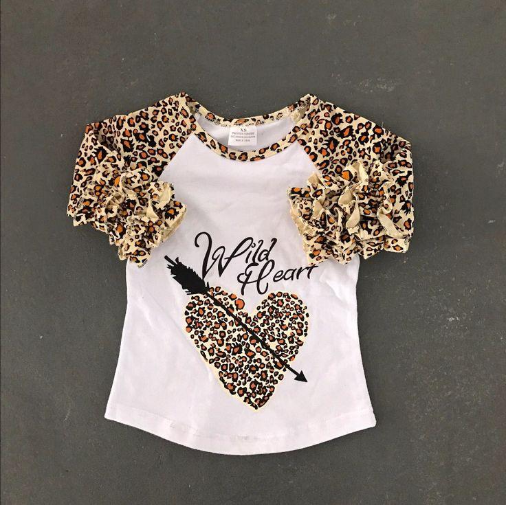 >> Click to Buy << baby girls cotton raglans girls wild heart raglans children leapord sleeve raglans kids heart with arrow raglans #Affiliate