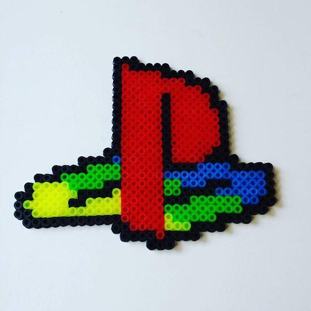 Playstation logo hama beads by  retro_games_leipzig