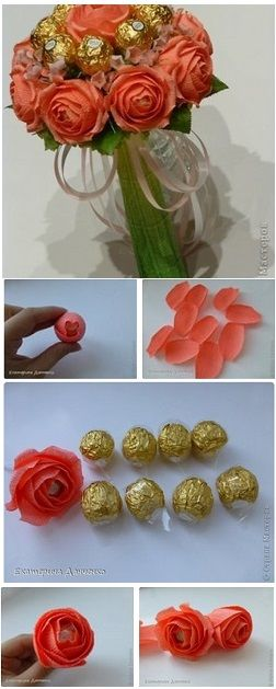 Chocolate Flower Bouquet – DIY with crepe paper