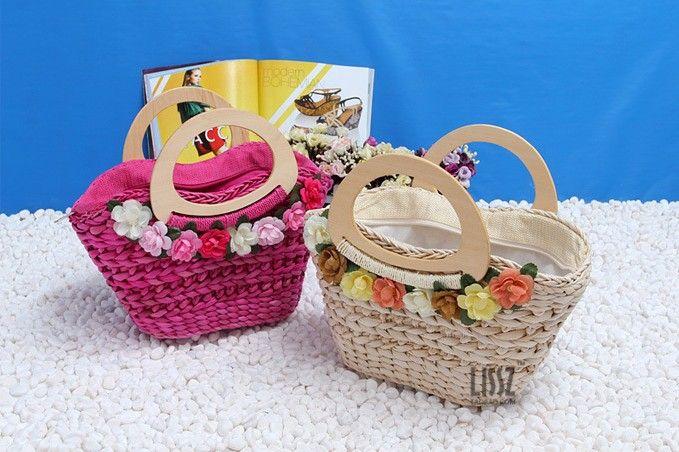 2014 женщин способа сумки вязаные мешок соломы пляжные сумки женщины сладкий 8 цветы мешок соломы